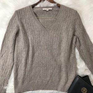 Loft Angora XL Cable Knit V Neck Sweater